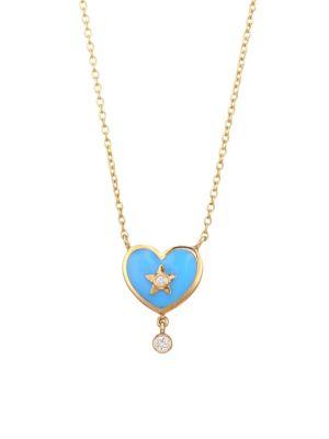 NAYLA ARIDA 18K Yellow Gold & White Diamonds Heart Pendant Necklace