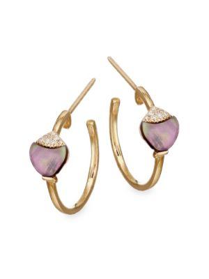 NAYLA ARIDA Grey Mother-Of-Pearl White & Brown Diamonds Hoop Earrings in Gold