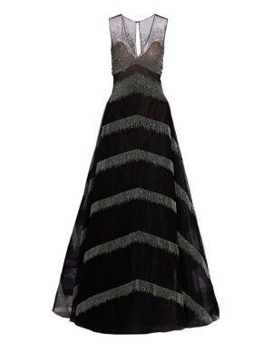 Delilah Metallic Fringe A-Line Ball Gown