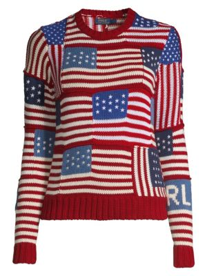 Novelty Flag-Patch Polo Sweater