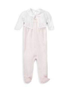 폴로 랄프로렌 여아용 아기 우주복 Polo Ralph Lauren Baby Girls Cotton Three-Piece Shrug, Bodysuit & Footie Set,Delicate Pink