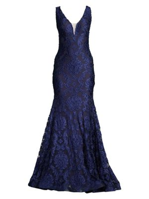 Lace Deep V-Neck Mermaid Gown