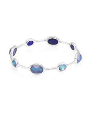 Rock Candy Sterling Silver & Triplet 8-Stone Bangle Bracelet