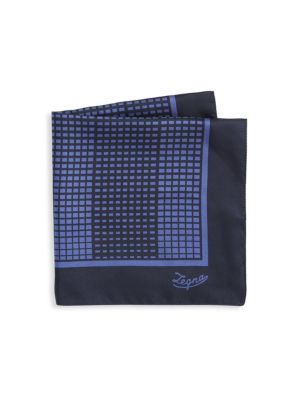 Grid Print Silk Pocket Square