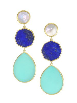 Polished Rock Candy 18K Yellow Gold & Multi-Stone Crazy 8's Triple-Drop Earrings