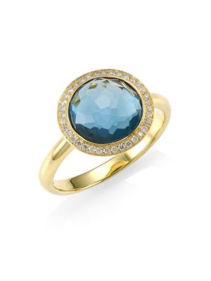 Lollipop Small 18K Yellow Gold, London Blue Topaz & Diamond Ring