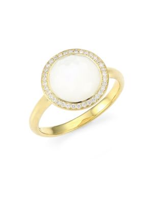 Lollipop Small 18K Yellow Gold, Mother-Of-Pear & Diamond Ring