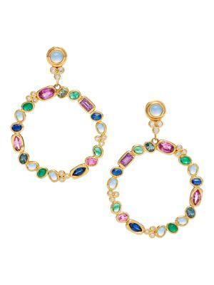 Campo 18K Yellow Gold Diamond & Mixed Gemstone Earrings