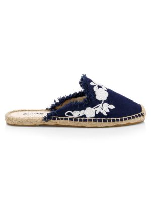 Canvas Frayed Floral Espadrille Mules