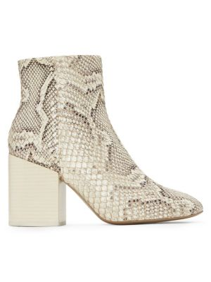 Block-Heel Snakeskin-Embossed Leather Ankle Boots