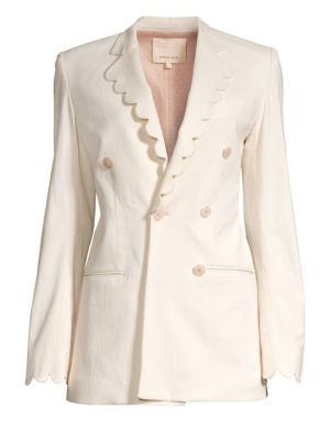Scalloped Double-Breasted Blazer