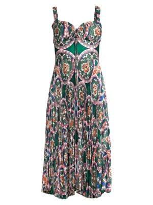 Amora Tie Print Corset Midi Dress