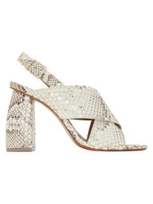 Hae Snakeskin-Embossed Leather Slingback Sandals