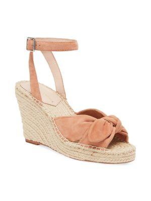 Tessa Bow Suede Espadrille Wedge Sandals