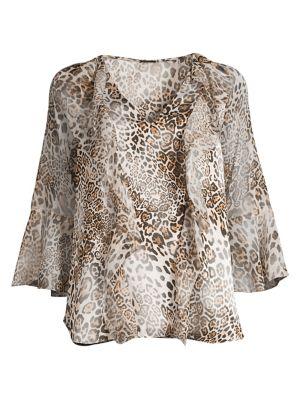 Faith Silk-Blend Leopard Bell-Sleeve Blouse