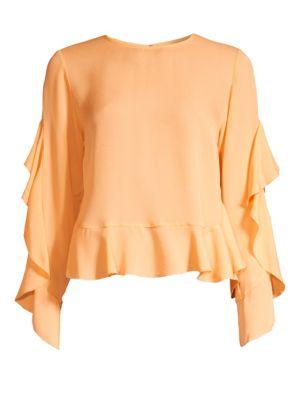 Basia Ruffle Silk Top