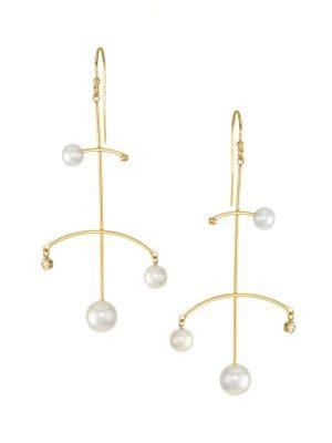 14K Yellow Gold, Freshwater Pearl & Diamond Mobile Drop Earrings