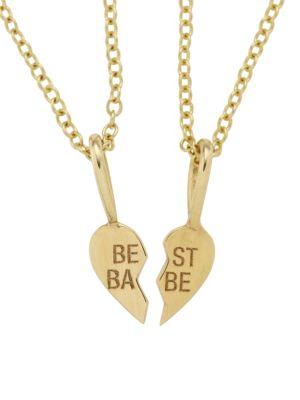 14K Yellow Gold Best Babes Split Heart Necklace Set