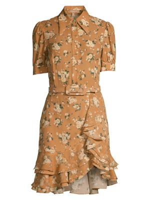 Belted Floral Silk Ruffle Shirtdress