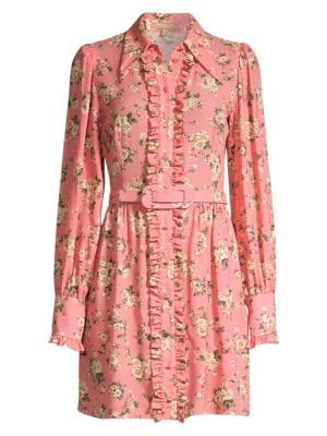 Floral Silk Ruffled Shirtdress