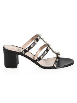 VALENTINO   Rockstud Leather Caged Block-Heel Sandals   Goxip