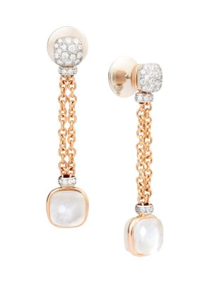 Nudo 18K Rose & White Gold Diamond, Topaz & Mother-Of-Pearl Chain Drop Earrings