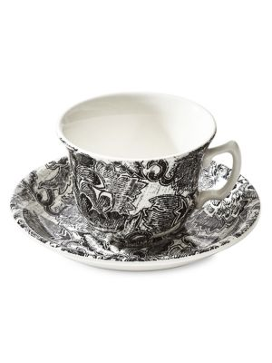 Ralph Lauren x Burleigh's Garden Vine and Midnight Sky Faded Peony Teacup & Saucer
