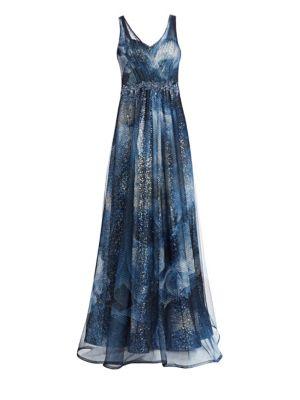 Sleeveless Print Point D'Sprit V-Neck Gown