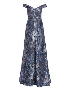 Off-The-Shoulder Print Fil Coupé Gown