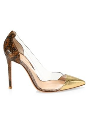 Plexi Two-Tone Snakeskin-Embossed Leather & PVC Pumps