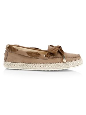 Gommino Leather & Raffia Boat Shoes