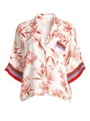 Bayley Floral & Stripe Cropped Camper Shirt