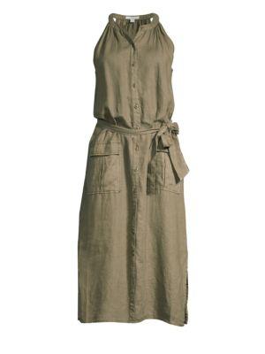 Edelie Linen Utility Tie-Waist Dress