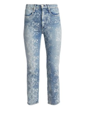 Nina High-Rise Python-Print Ankle Cigarette Jeans