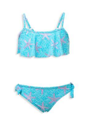 Little Girl's & Girl's Ocean Star Flounce Bikini