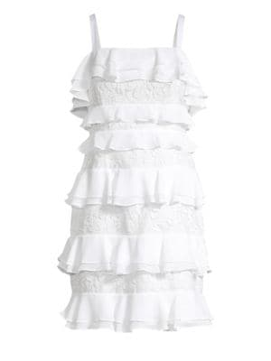 Olive Ruffle & Lace Tiered Dress