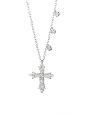 Diamond & 14K White Gold Cross Necklace
