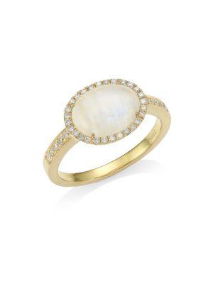 14K Yellow Gold, Diamond & Rainbow Moonstone Ring