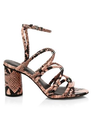Apolline Suede Snake-Print Strappy Sandals