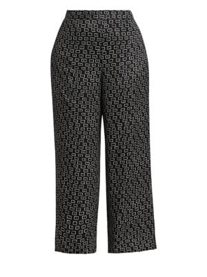 Colombus Square Print Wide-Leg Trousers