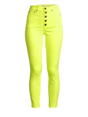 Good High-Rise Neon Button Fly Skinny Ankle Jeans