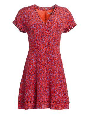 Stretch-Silk Printed V-Neck Dress