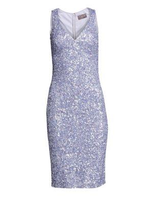 V-Neck Crunchy Sequin Cocktail Dress