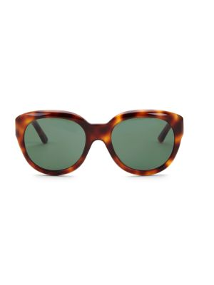 56MM Animal Print Round Sunglasses