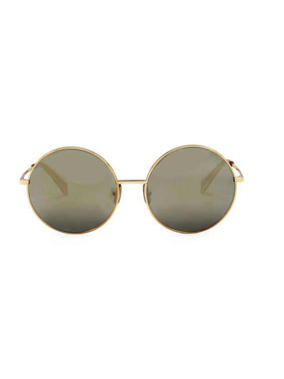 CELINE 61MM Goldtone Logo Round Sunglasses