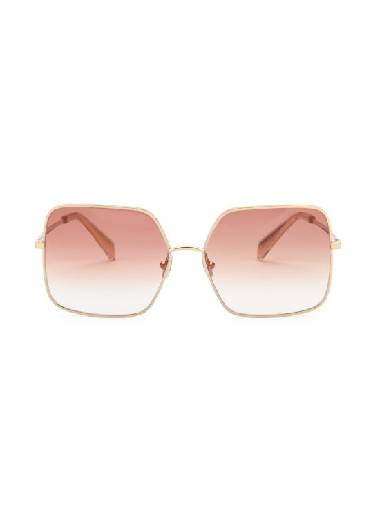 CELINE 60MM Goldtone Logo Square Sunglasses