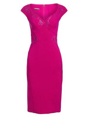 Cap Sleeve Embellished Cocktail Dress