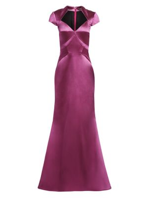 Cap Sleeve Stretch Satin Gown