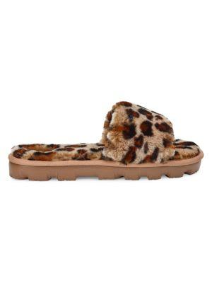 Cozette Leopard-Print Sheepskin Slides