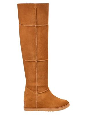 Classic Femme Over-The-Knee Sheepskin-Lined Suede Boots